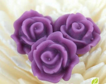 CA-CA-10202- (New and Unique)3D Blossom Rose with horizontal hole at bottom,amethyst, 4pcs