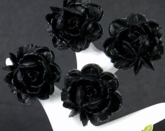 CA-CA-01309 - Black Small Rose Cabochon 6 pcs