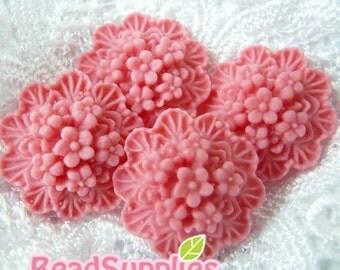 CA-CA-01806 -  Dark Pink Wax Flowers Cabochon, 4 pcs