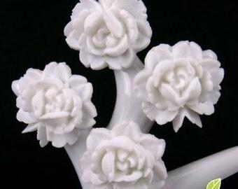 CA-CA-01302 - White small Rose Cabochon, 6 pcs