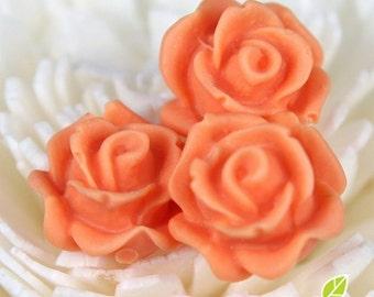 CA-CA-10215- (New and Unique) 3D Blossom Rose , orange, 4pcs