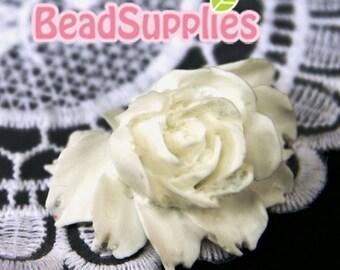 CA-CA-02902 - White Rose Cabochon, 2 pcs