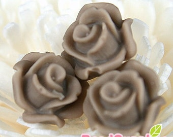 CA-CA-10220- (New and Unique) 3D Blossom Rose with horizontal hole at bottom,charcoal brown, 4pcs
