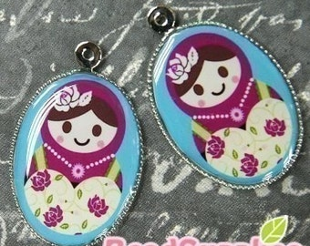CH-LU-01179 - (New and Exclusive) Matryoshka Doll oval cameo charm, Ms Rose- Special Edition, 2pcs