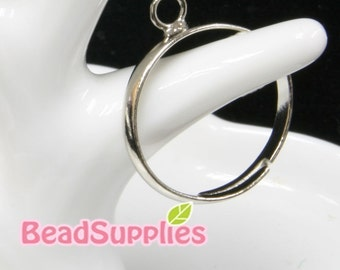 FN-RB-01006 - Adjustable Silver plated one-hole ring base for beadswork,2pcs