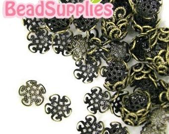 FG-FG-03045 - Nickel Free Antique Brass,  5 petal beads cap, 12 pcs