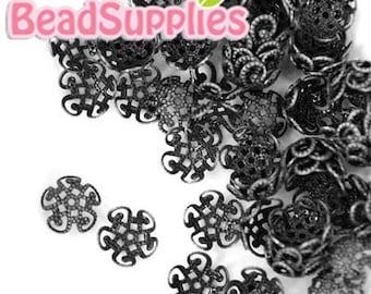 Wholesale - FG-FG-07015 - Nickel Free Gunmetal Black,  5 petal beads cap, 120 pcs