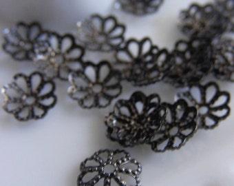 FG-FG-07001 - Nickel free Gunmetal black,  Bead caps, 36pcs -