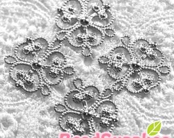 FG-FG-01022- Nnickel free Silver plated 3-heart filigree, 24 pcs