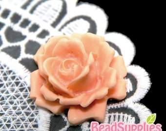 CA-CA-04201 - Peach Rose bud Cabochon, 2 pcs