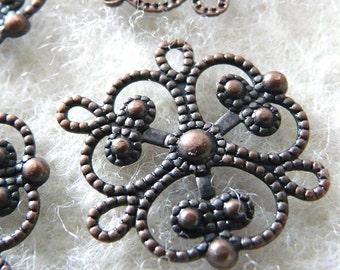 Wholesale - FG-FG-04001 - Nickel free Antique Red Copper  Art Nouveau filigree, 72 pcs