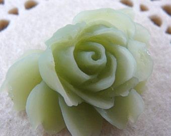 CA-CA-02909 - Jade Green Rose Cabochon, 2 pcs