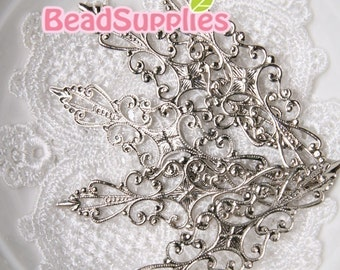 FN-RB-01003 - Silver plated Art Nouveau filigree for Ring , 8 pcs