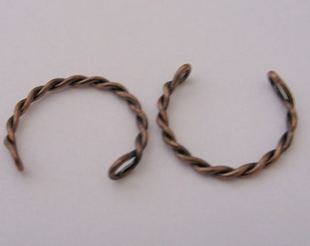 FN-RB-04005 - Nickel Free Antique red copper opened twisted ring, 2 pcs