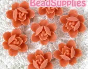 CA-CA-04908- 6-petal Flat rose- coral red, 4 pcs