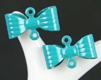 CH-ME-01128-Nickel Free Turquoise Blue Petite Bow connector, 12 pcs