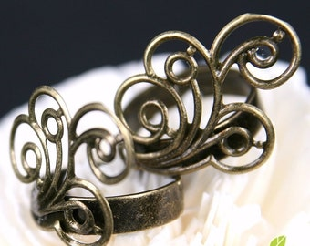 FN-RB-03025- Nickel free Antique Brass Spiral Feather filigree ring base, 4 pcs