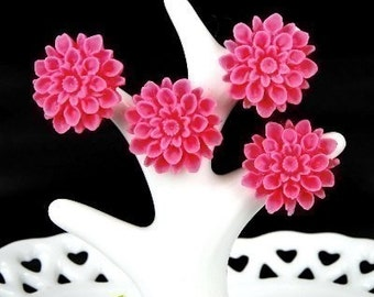 CA-CA-01552- Dark Rose chrysanthemum Cabochon,  6 pcs