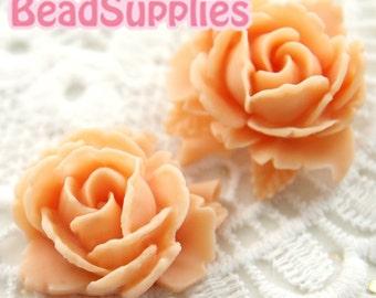 CA-CA-05901 - Rose Bud with Leaf- peach, 2 pcs