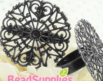 FN-RB-07022- Nickel Free, Gunmetal Black  Big floral 4-heart filigree ring (Adjustable), 4 pcs