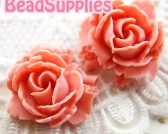 CA-CA-05920- Rose Bud with Leaf- Pink, 2 pcs