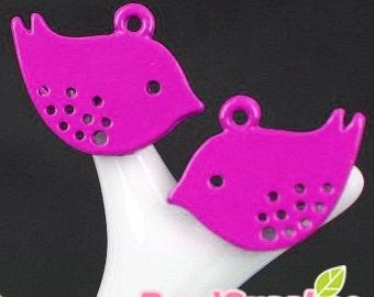 Wholesale - CH-ME-01136 - Super Cute Petite Birdie charm, Rose Colored,24 pcs