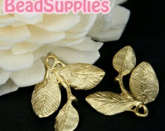 CH-ME-02060- Matted gold plated, 3-leaf charms, 4 pcs