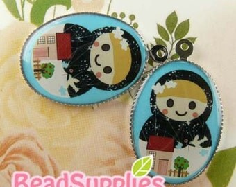 CH-LU-01210 - (New and Exclusive) Matryoshka Doll oval cameo charm,  Ms Home Sweet Home  - Special Edition, 2pcs