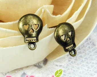 FN-ER-03032 - Nickel Free, Antique brass plated, Happy skull earwire, 4 pairs