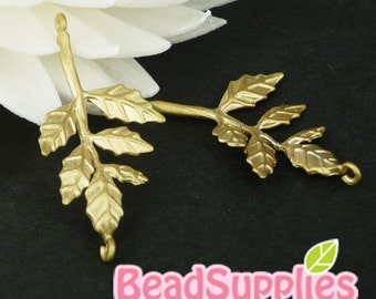 CH-ME-02051 - Matted Gold plated, The golden leaf, 4 pcs