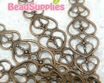 Special Offer - FN-RB-04008 - Nickel Free Antique red copper Art Nouveau Heart Filigree for ring base, Buy 6 pcs get 2 pcs free
