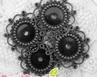 FG-FG-07019- Nickel Free, lead free Gunmetal Black, flower filigree cab setter, 8 pcs