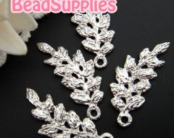 CH-ME-09165 -  Nickel Free, Silver plated, Lace charm/connector, leaf , 4  pcs