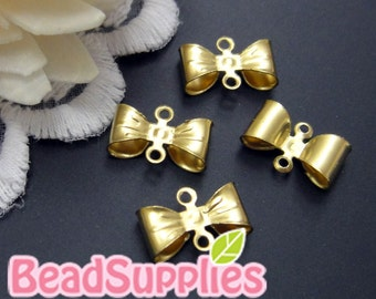 Wholesale - CH-ME-08019- Nicket free, raw brass Petite Bow connector,72 pcs