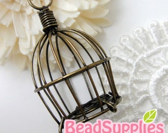 CH-ME-03178- Nickel Free, Antique Brass, Hand wired bird cage V1, 2 pc