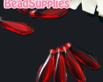 CZ-PG-01009- Czech Pressed Glass,  Dagger Beads 16x5mm , Siam Ruby, 25 pcs