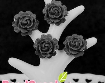 CA-CA-01112- Small round rose - black, 4 pcs