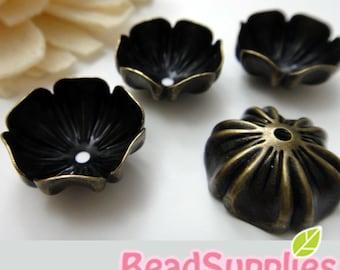 FG-FG-03082 - Nickel free antique brass Antique style flower beadcaps, 6 pcs