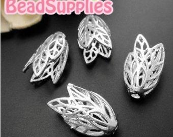 FG-FG-01050- Nickel Free, Lead Free, silver plated, Layered filigree beadcaps, 6 pcs