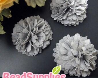 FA-FL-03011 - Fabric Pom Pom (M), grey, 2 pcs