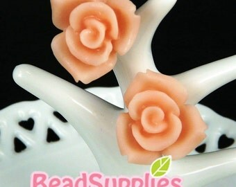 CA-CA-10101 - (New and Exclusive) 3D  Rose cabochon,Peach, 2pcs