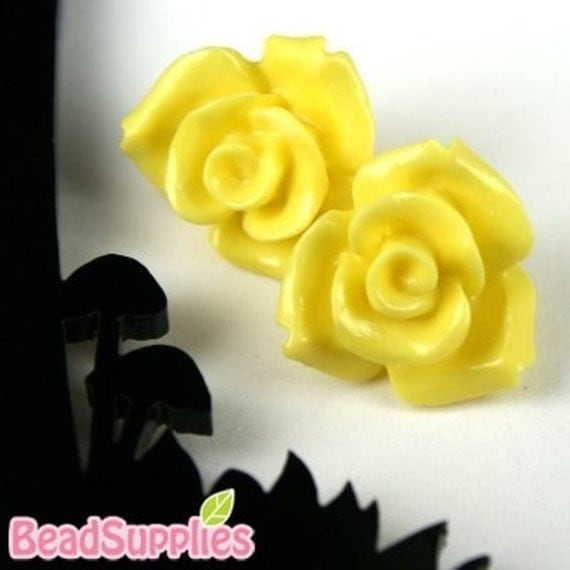 CA-CA-10121- (New and Unique) 3D Rose, Yellow,2pcs