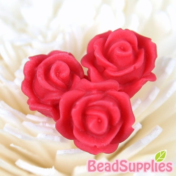 CA-CA-10218- (New and Unique) 3D Blossom Rose with horizontal hole at bottom,red, 4pcs