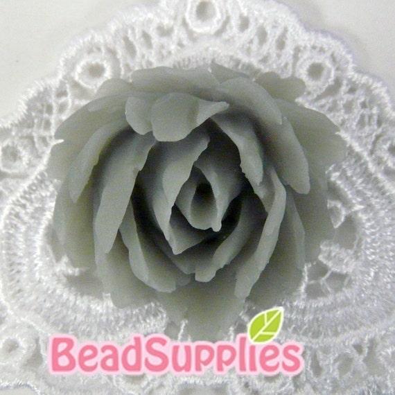 CA-CA-03206 - Cool Grey Medium Rose Cabochon, 2 pcs