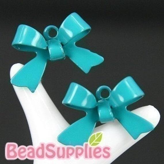 CH-ME-01125 - Nickel Free, Turquoise Blue Petite ribbon, 12 pcs