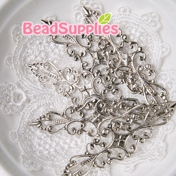 FN-RB-01003 - Silver plated Art Nouveau filigree for Ring , 16 pcs
