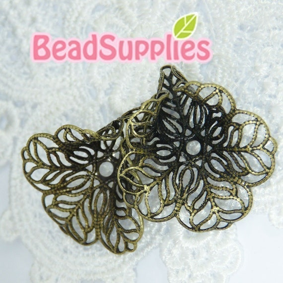 FG-FG-03008 - Nickel free Antique brass filigree Freesia bead cap, 4 pcs