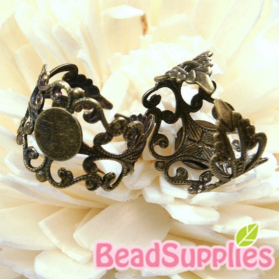 FN-RB-03055-Nickel Free, Lead Free, Antique Brass, Art Nouveau Filigree ring base with 8mm glue on pad, 10 pcs