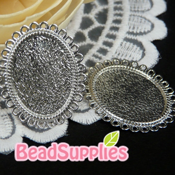Wholesale-CH-CS-09001, Lace pattern cameo setting , Oval, 72 pcs (for 25mmx18mm cabochon)