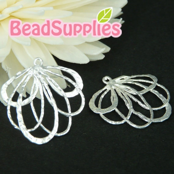 Ch-ME-09140-  Silver plated, Special and Unique, Ribbon Flower Charm, 4 pcs